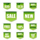 Grüne Verkäufe, Bio-, organischer Aufkleber Stockbilder