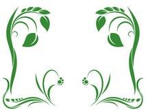 Grüne Verzierung mit Blatt lizenzfreie abbildung