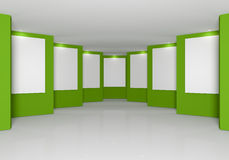 Grüne Wand in der Galerie Stockfoto