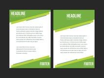 Grüne weiße Broschüren-Broschüren-Fliegerschablone, Bucheinband, Darstellungsschablonen Stockfoto