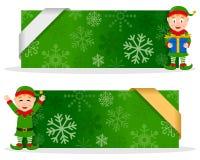 Grüne Weihnachtsfahnen mit glücklicher Elfe Lizenzfreie Stockbilder