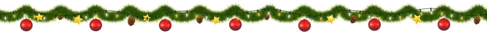 Grüne Weihnachtsgirlande für Dekoration und Website vektor abbildung