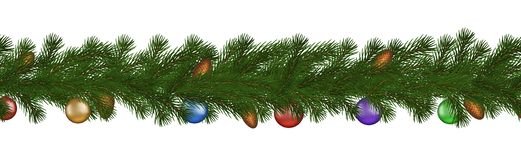 Grüne Weihnachtsgrenze der Kiefernniederlassung, Kegel und Ball, nahtloser Vektor lokalisiert auf weißem Hintergrund stock abbildung