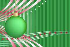 Grüne Weihnachtskugel mit Streifen und Sternen Stockbild