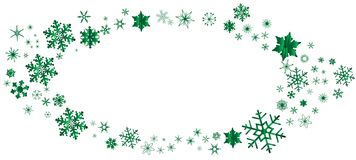 Grüne Weihnachtsschneeflocken-Oval-Grenze stock abbildung