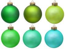 Grüne Weihnachtsverzierungansammlung. Stockfotografie