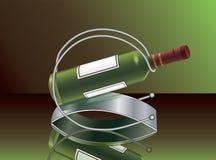 Grüne Weinflasche mit der Unterstützung für Wein Stockbild