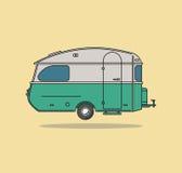 Grüne Weinlese-kampierendes Auto Wohnwagen für Rest vektor abbildung