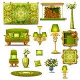 Grüne Weinleseart der Möbel, großer Vektorsatz Stockfotografie