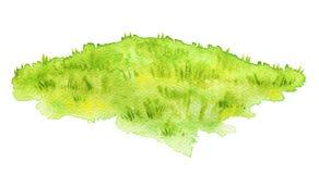 Grüne Wiese des Aquarells Stockbilder