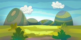 Grüne Wiese gezeichnet in Karikaturart Stockbilder