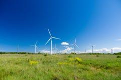 Grüne Wiese mit den Windkraftanlagen, die Strom erzeugen Lizenzfreies Stockfoto