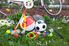 Grüne Wiese mit einem Fahrrad Stockbilder