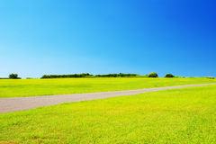 Grüne Wiese mit einer Straße gegen klaren blauen Himmel Lizenzfreie Stockfotografie