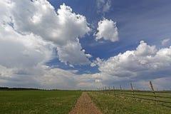 Grüne Wiese mit Landstraße und Wolkenhimmel Lizenzfreies Stockbild