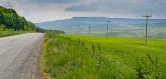 Grüne Wiese, Straße und ETL Stockfoto