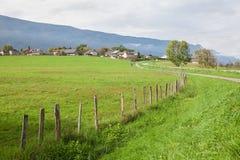 Grüne Wiese und Dorf Lizenzfreie Stockbilder