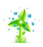 Grüne Windmühle Stockbild