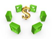 Grüne Zeckenkennzeichen um Zeichen des Dollars. Lizenzfreie Stockfotografie