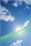 Grüne Zeile Diagramm über Himmel mit Wolken lizenzfreie stockfotos