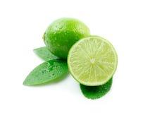 Grüne Zitronen mit Blättern Lizenzfreie Stockfotos