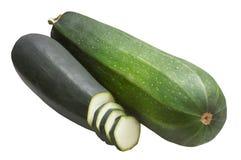 Grüne Zucchini zwei, lokalisiert auf weißem Hintergrund Stockfotos