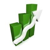 Grünen Sie Diagramm 3D mit weißem Pfeil stockbilder