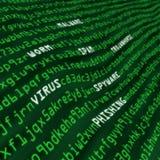 Grünen Sie Feld der Cyberangriffsmethoden im Code Stockfotografie