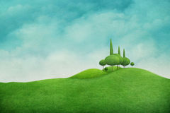 Grünen Sie Frühlings-Landschaft lizenzfreie abbildung