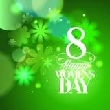 Grünen Sie am 8. März Frauen ` s Tageskarte mit Blumen Stockfoto