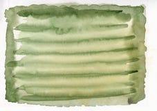 Grünen Sie mit gelbe gezeichnetem gestreiftem Hintergrund der Farbhorizontale Aquarell-Steigung Hand Lizenzfreie Stockbilder