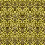 Grünen Sie nahtloses Muster des braunen Blumendamastes Stockfotografie