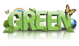 Grünen Sie Natur-Blatt-Text auf Weiß Stockfotografie