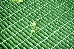 Grünen Sie ultra farbige quadratische Metallluke in der städtischen Pflasterung, im Abwasserkanalkanaldeckel mit Markierungslinie Stockfotos