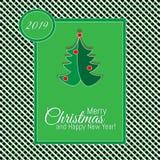 Grünentwurfs-Grußkarte der frohen Weihnachten und des guten Rutsch ins Neue Jahr lizenzfreie abbildung