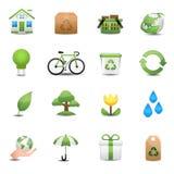 Grüner Ökologie-Ikonen-Satz Stockbild