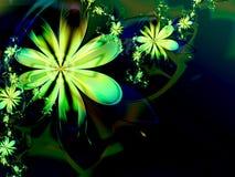 Grüner abstrakter Blumefractal-Dunkelheit-Hintergrund Stockfotografie