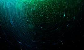 Grüner abstrakter futuristischer Hintergrund der Zukunftsromane, unscharfe Sterne im Raum Lizenzfreie Stockbilder