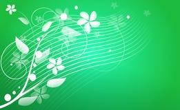 Grüner abstrakter Hintergrund mit Blumenverzierungen Stockfoto