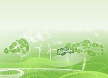 Grüner abstrakter Hintergrund mit merkwürdigen Bäumen Stockfoto