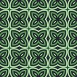 Grüner abstrakter mit Blumenhintergrund Nahtloses Muster mit symmetrischer geometrischer Verzierung Lizenzfreie Stockfotos