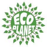 Grüner abstrakter Planet mit Bäumen und Text Stockbild