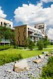 Grüner allgemeiner Park in der Stadt mit trockenem steinigem Wasserlauf Stockbild