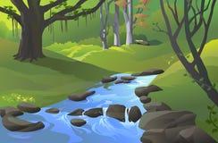 Grüner Amazonas-Wald mit einem Strom Lizenzfreie Stockfotos