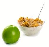 Grüner Apfel der Corn-Flakes Stockfotos