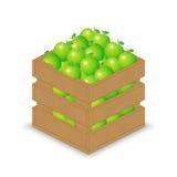 Grüner Apfel in der hölzernen Kiste Stock Abbildung