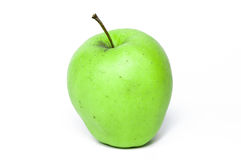 Grüner Apfel, lokalisiert stockfotografie