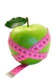 Grüner Apfel mit Blatt Stockbilder