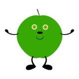 Grüner Apfel mit den Händen, den Beinen und den Augen Lizenzfreie Stockfotos