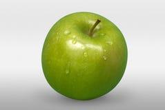 Grüner Apfel mit Wasser fällt auf weißen Hintergrund Front View Stockfotos